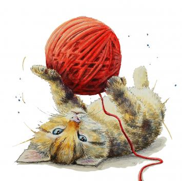 Kitten playing with wool