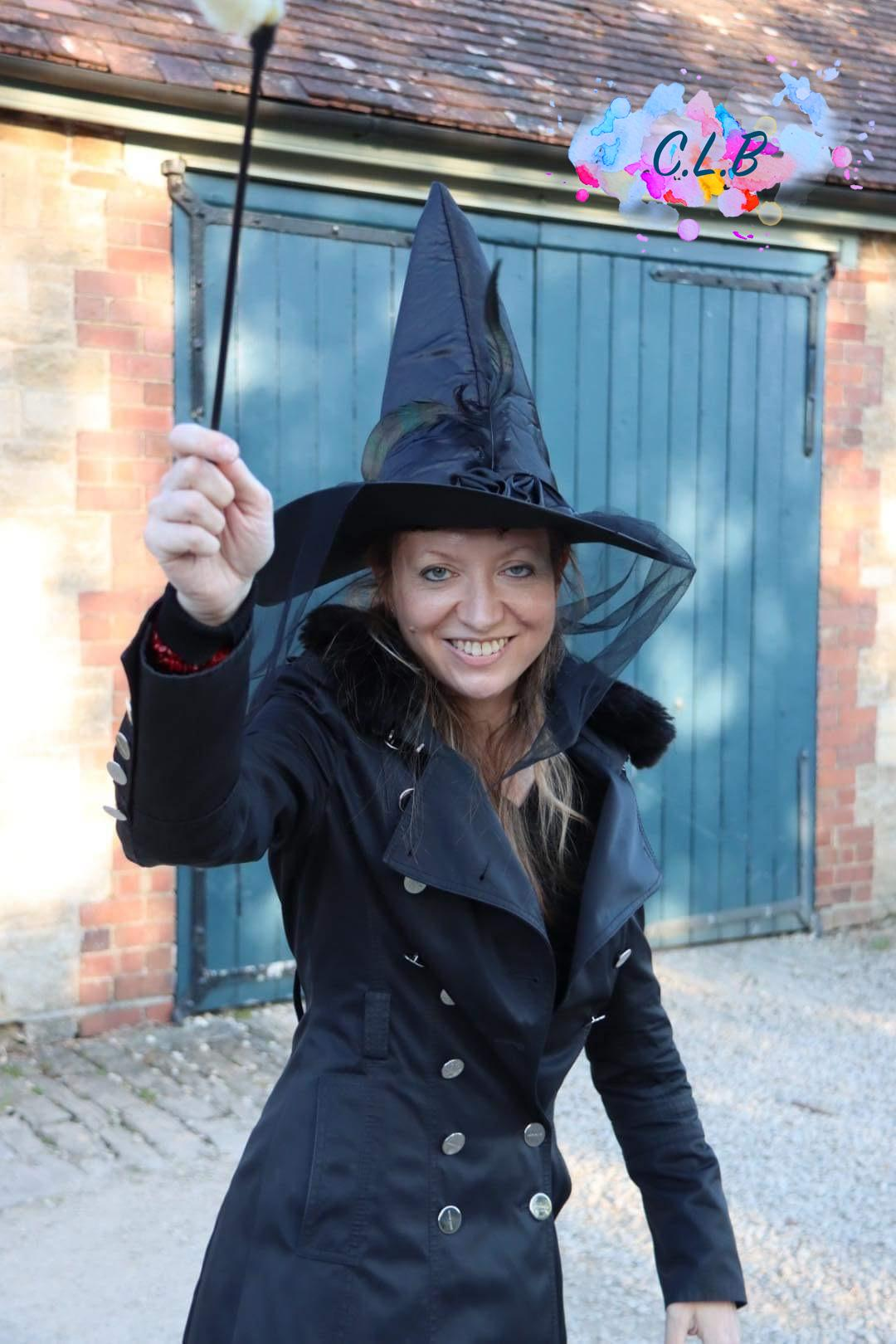 Caroline as a witch in Lacock village